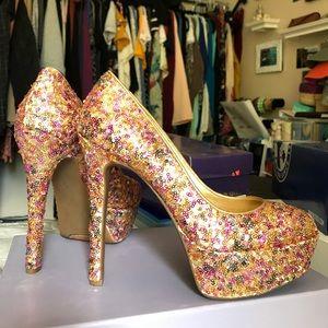 Jessica Simpson sparkle platform heels